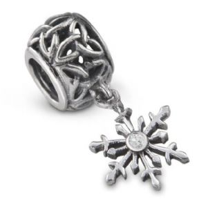 Outlander Inspired Snowflake Silver Bead Charm 9962